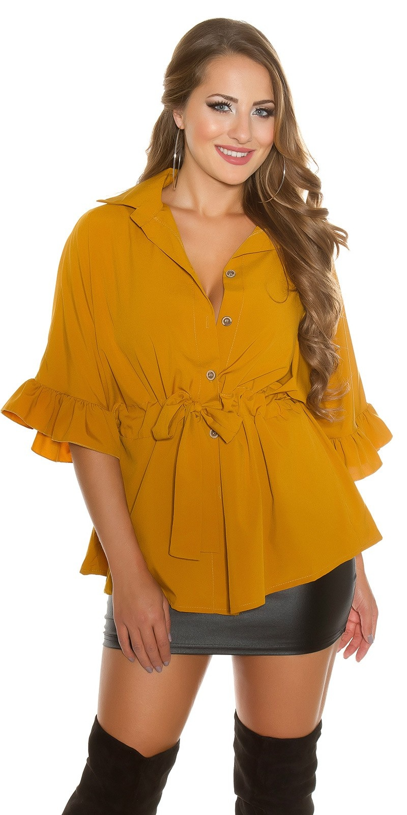 Sexy blouse with flounce and belt Mustard