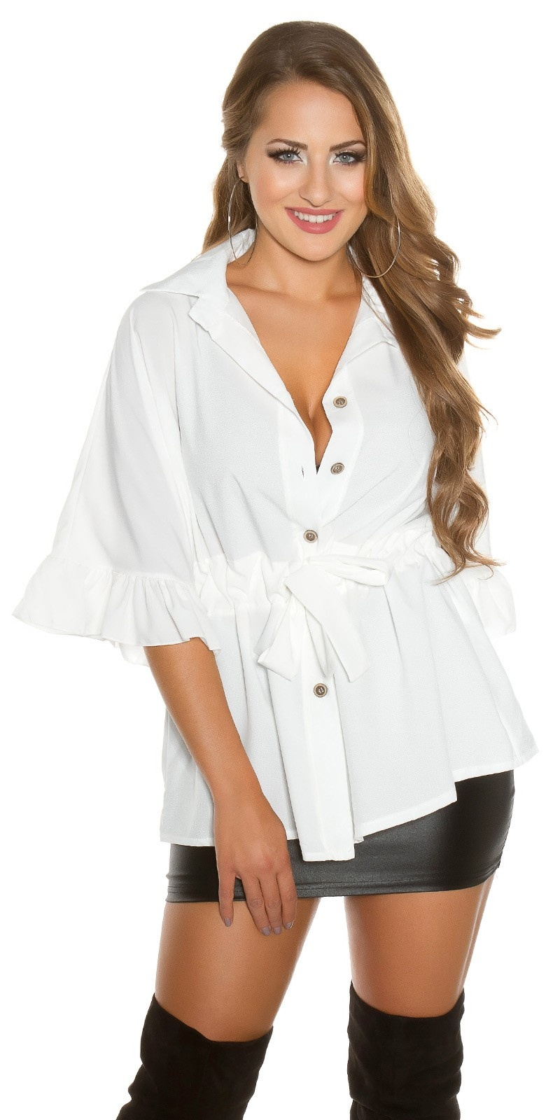 Sexy blouse with flounce and belt White