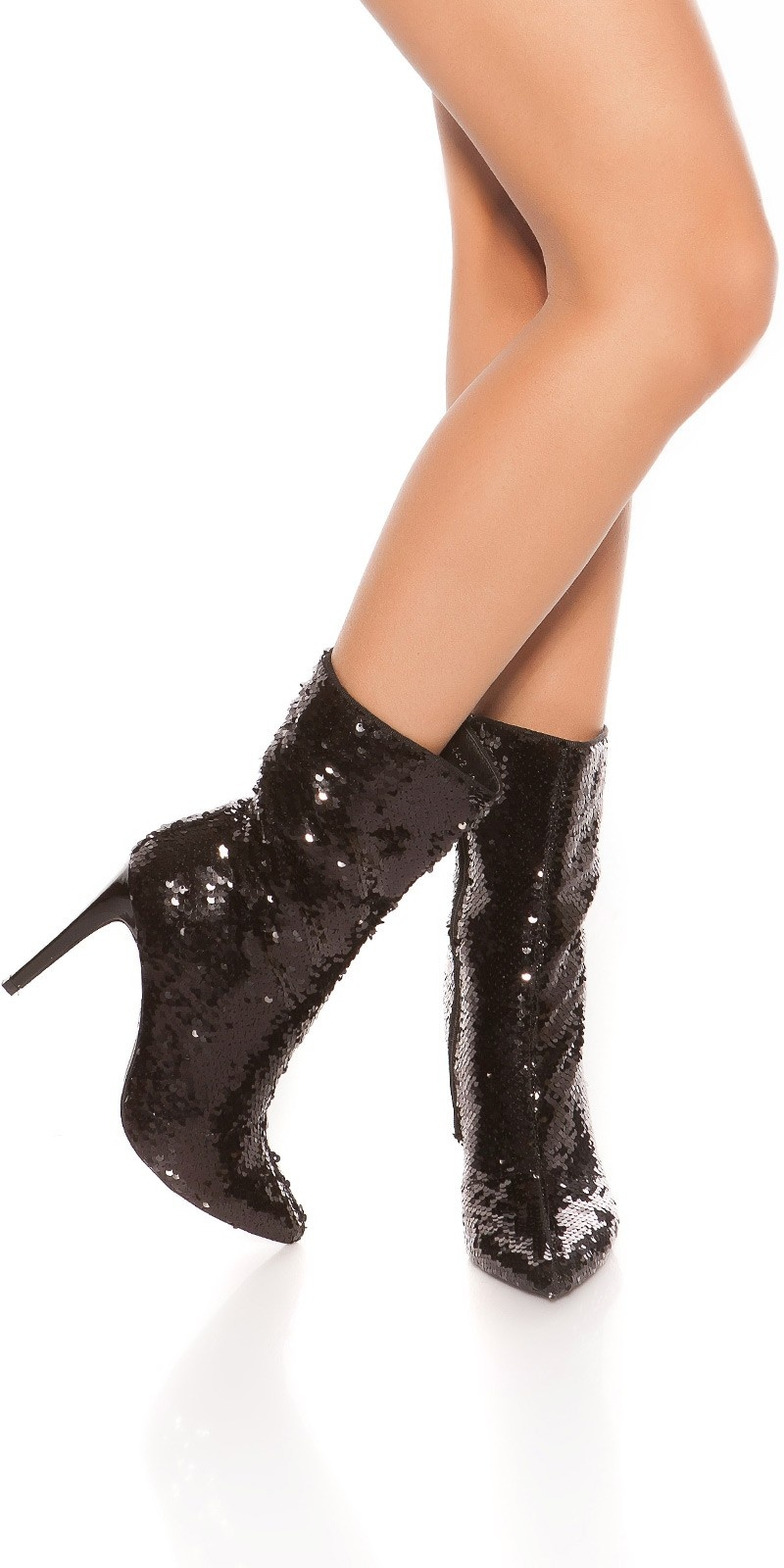 Sexy Party Sequins Ankle Boots Black
