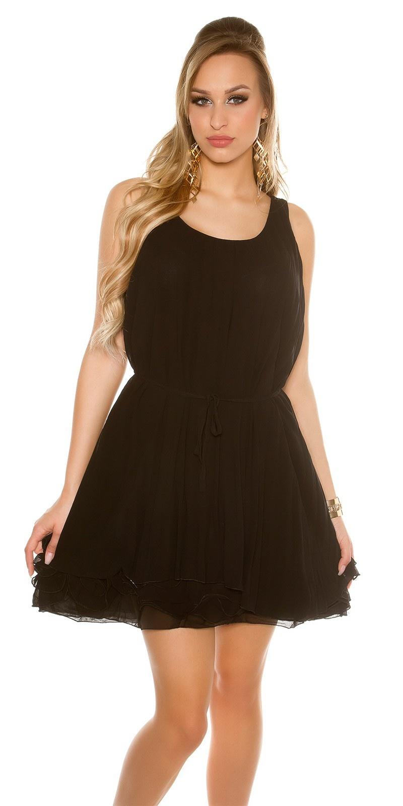 Sexy plissee mini jurkje zwart