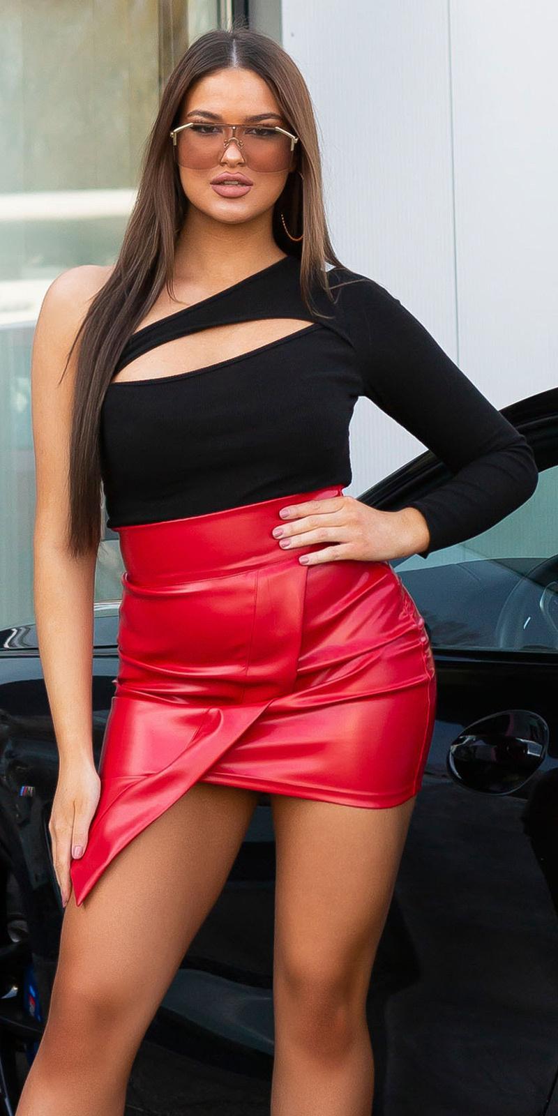 Sexy een-schouder bodysuit met cut-out zwart