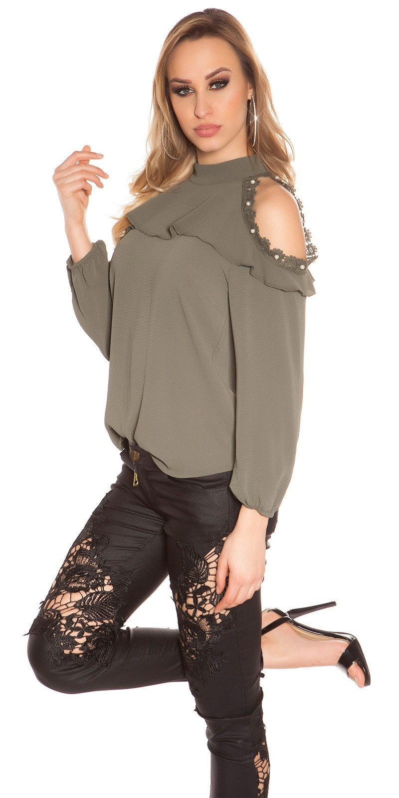 Sexy cold shoulder blouse with lace and flounce Khaki