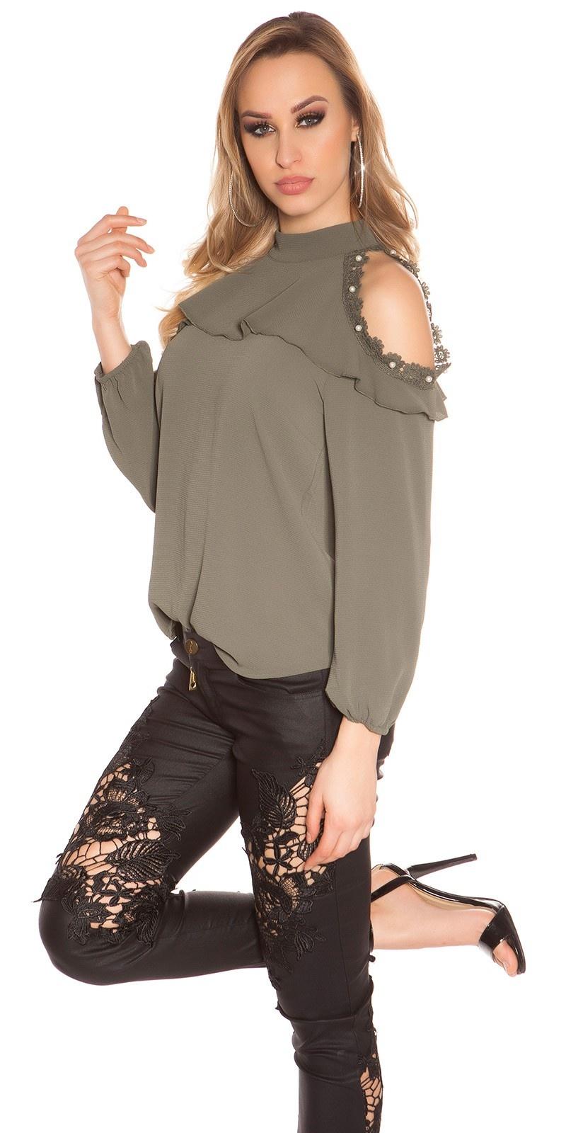 Sexy blote schouder blouse met kant en volant khaki