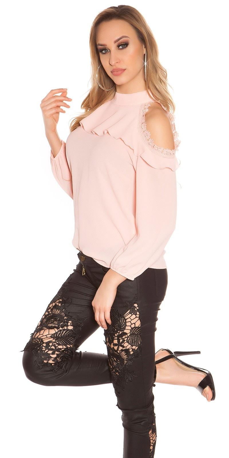 Sexy blote schouder blouse met kant en volant roze