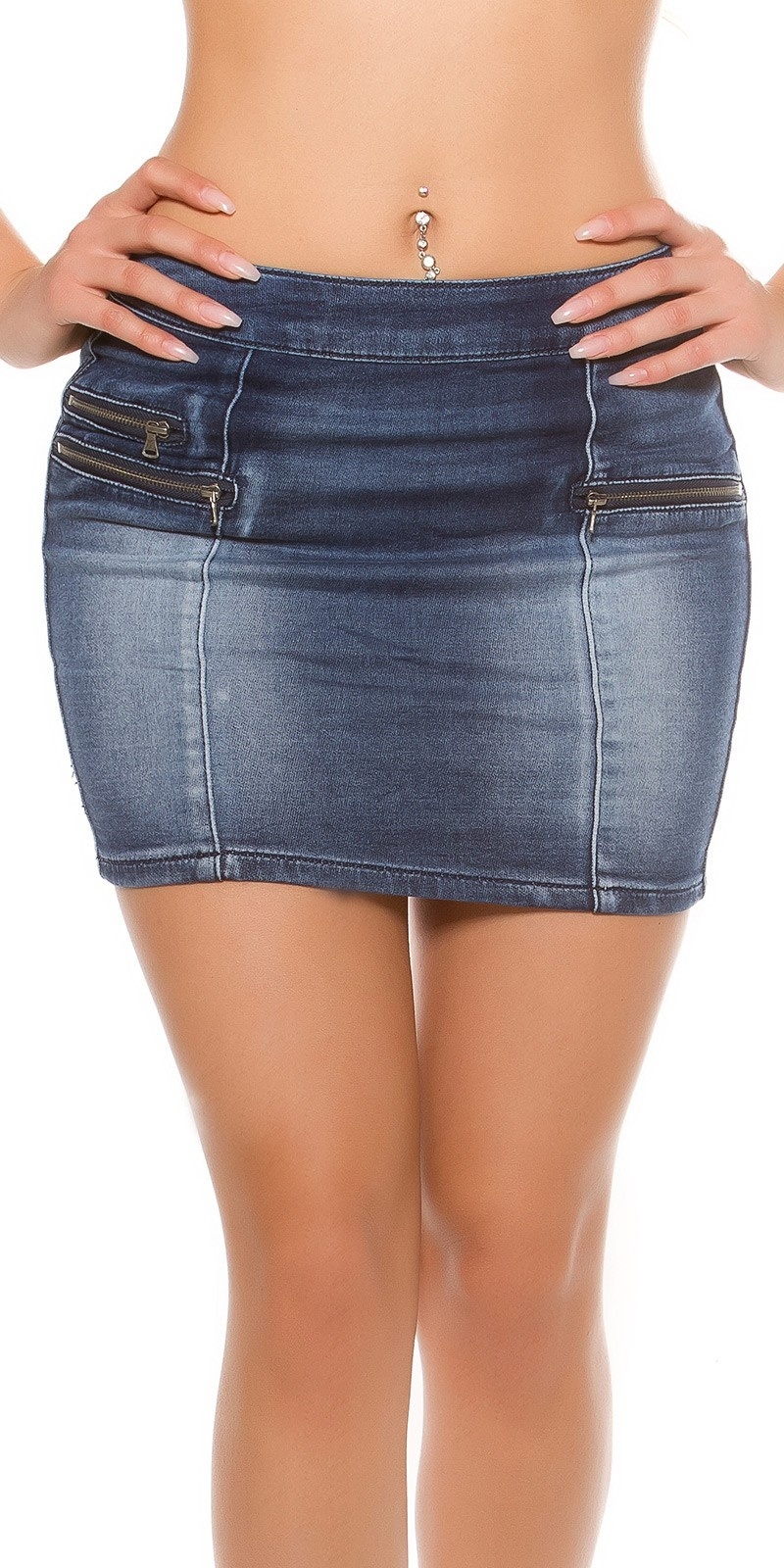 Sexy jeans mini skirtwith zip pockets Jeansblue