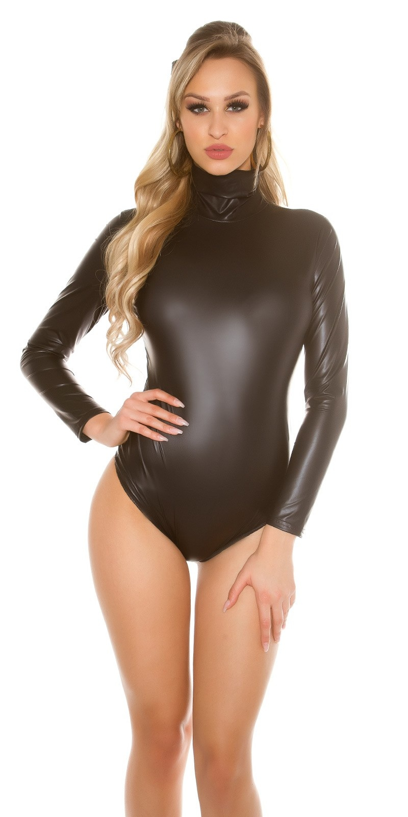 Sexy KouCla Highcollar Wetlook Body Black