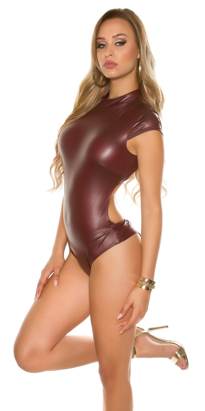 Sexy KouCla stand-up collar Body Wetlook Bordeaux