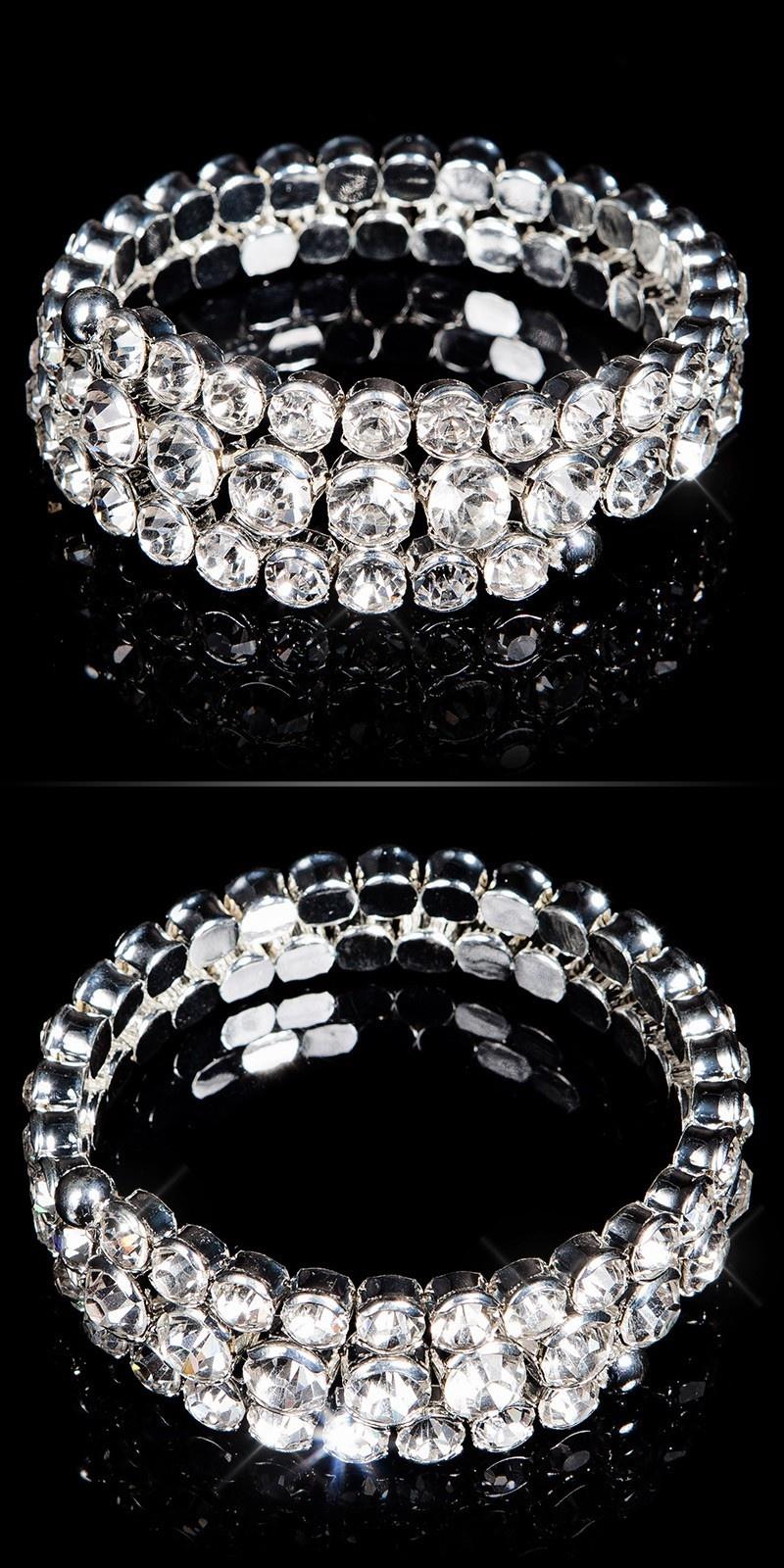 Sexy Rhinestones bracelet spiral Silver