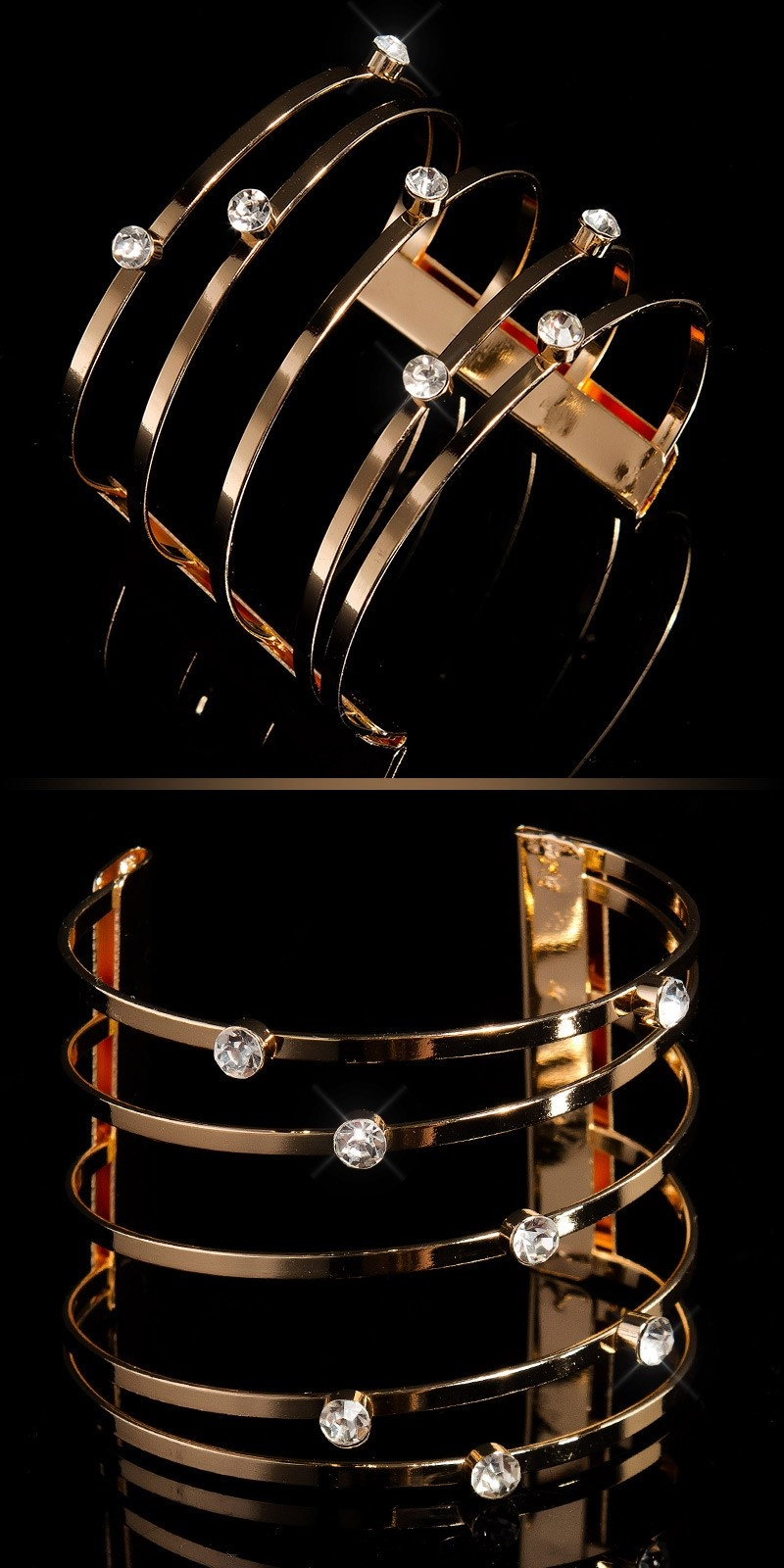 Trendy bracelets with rhinestones Gold