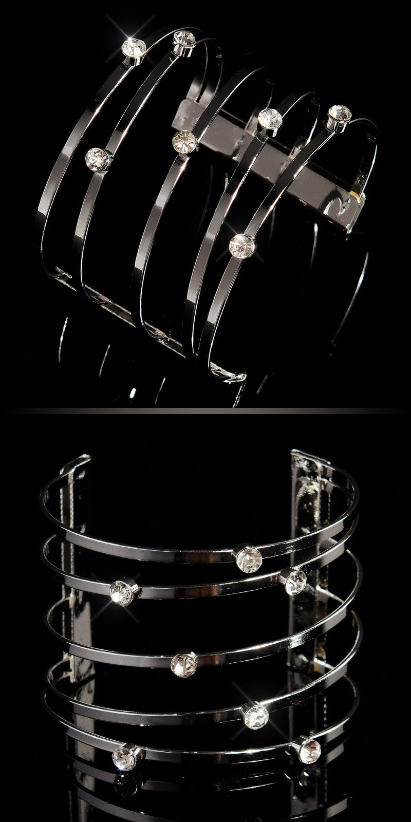 Trendy bracelets with rhinestones Silver