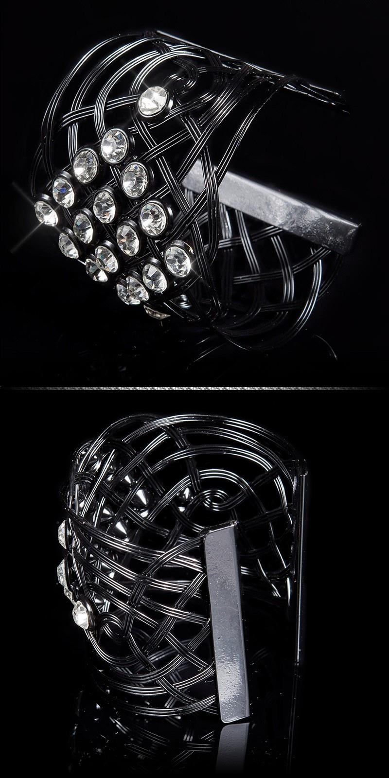 Sexy bracelet with XL rhinestones Silver