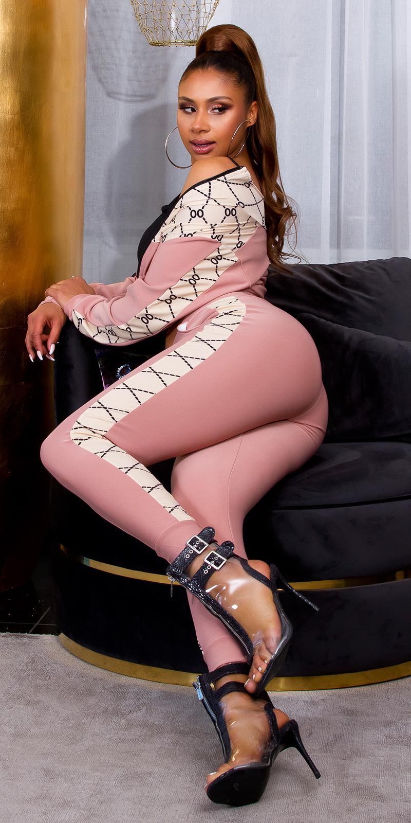 Sexy 2-piece luxury bi-colour set leggings+pullover roze