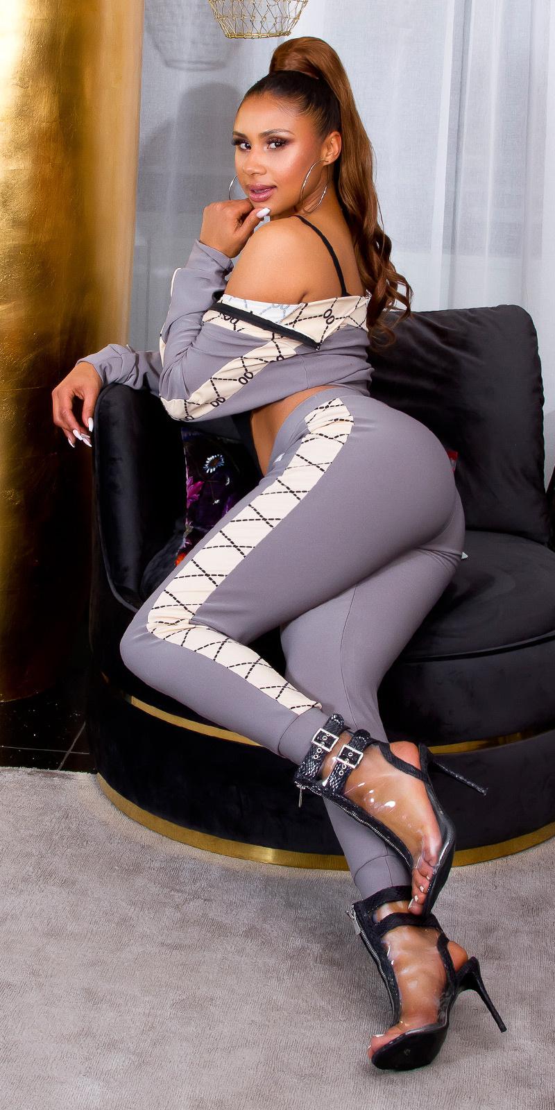 Sexy 2-piece luxury bi-colour set leggings+pullover grijs