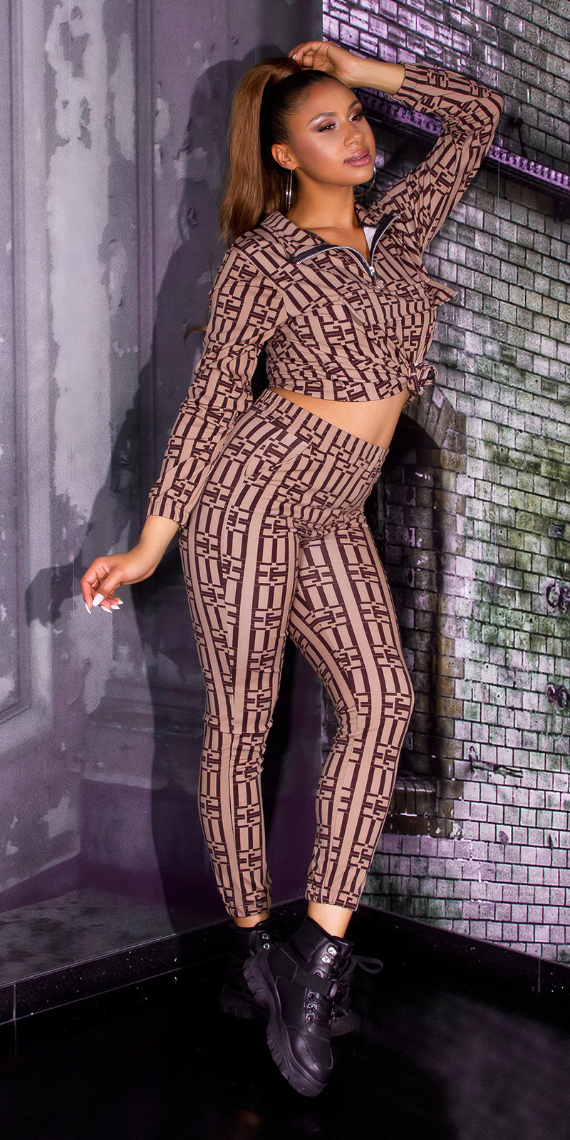 Luxury look 2-piece set leggings+sweatshirt bruin