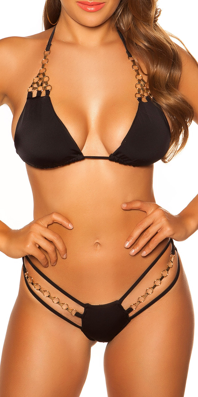 Sexy KouCla triangle bikini with chains Black