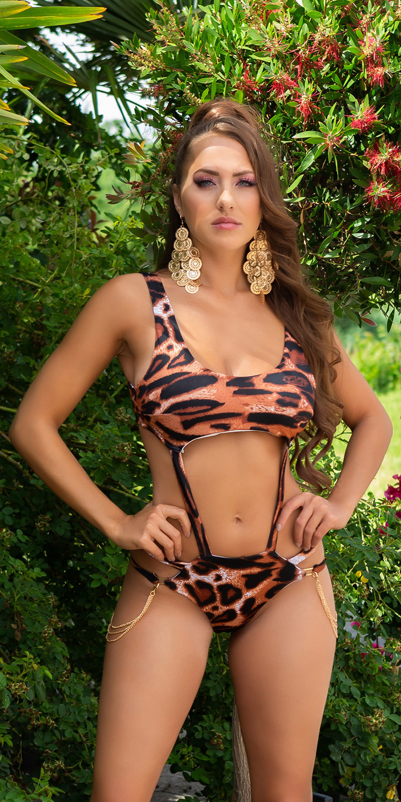 Sexy monokini met kettingen luipaard