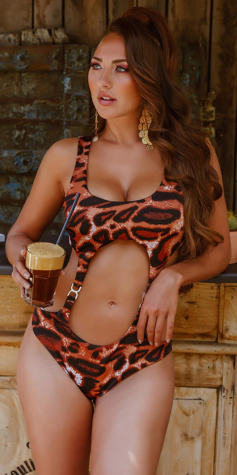 Sexy monokini met goud-details luipaard