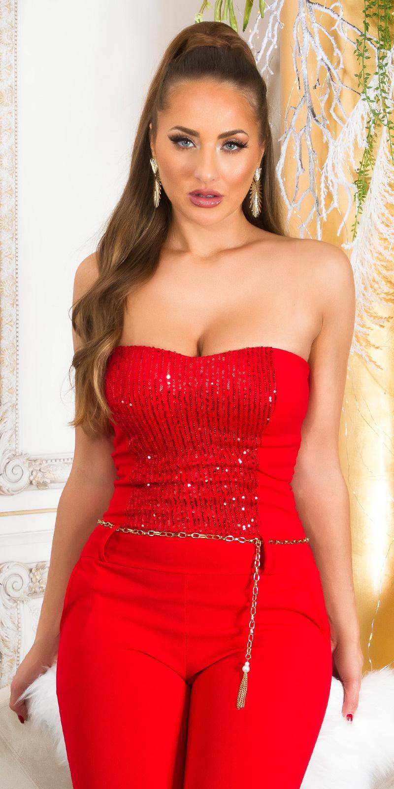 Feest uitgaans pailletten bandeau jumpsuit rood