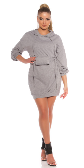 Trendy Hoodie Mini dress with fanny pack Gray