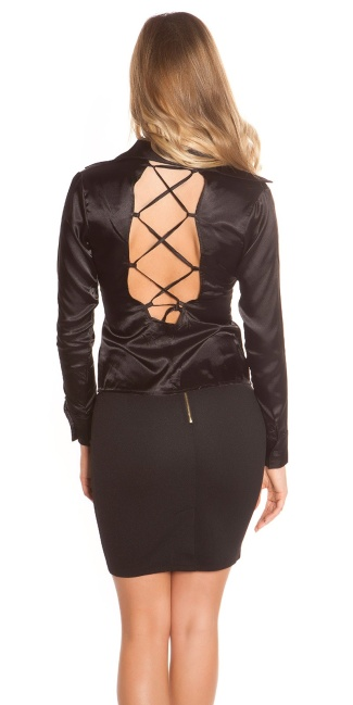 Sexy blouse backless with lacing Black
