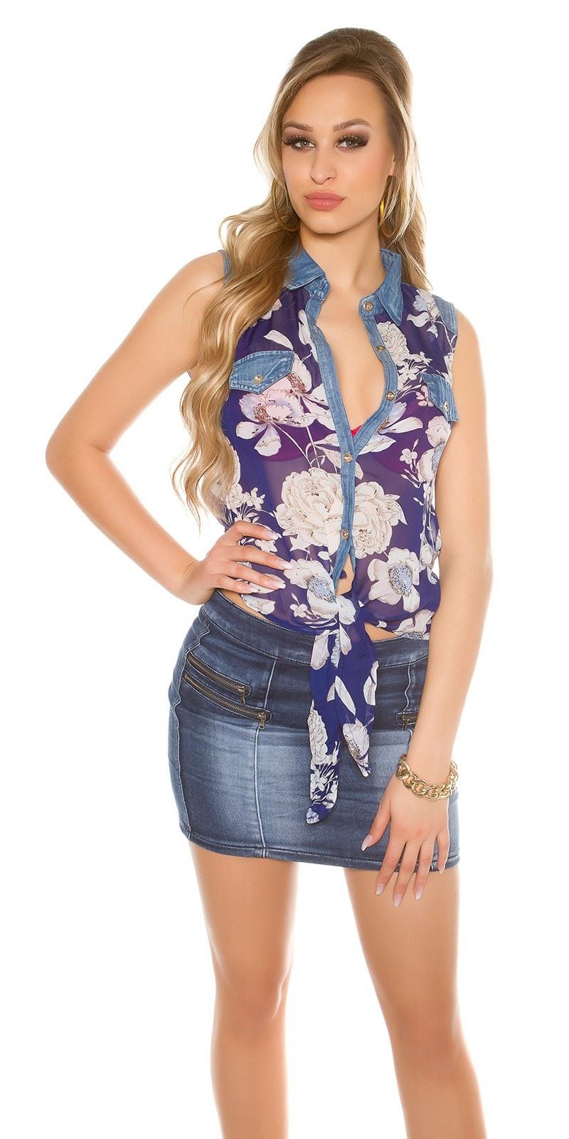 Sexy chiffon blouse with print Navy