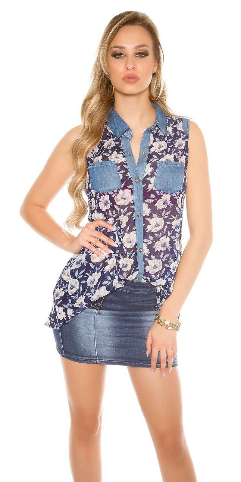 Sexy Chiffon blouse with floral print Navy