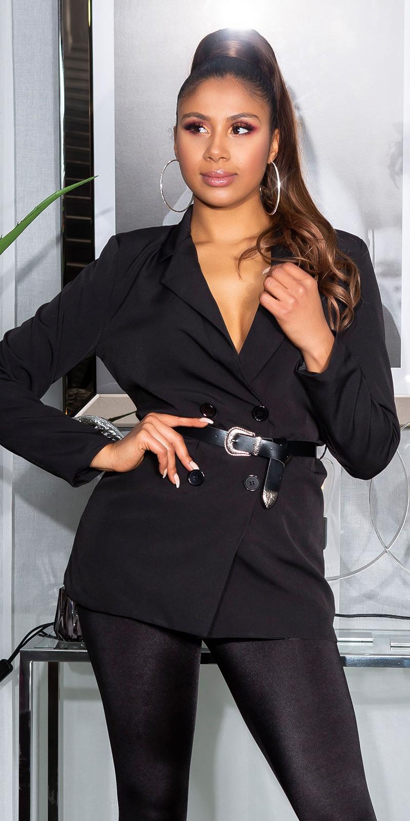 Sexy double-breasted blazer met riem zwart