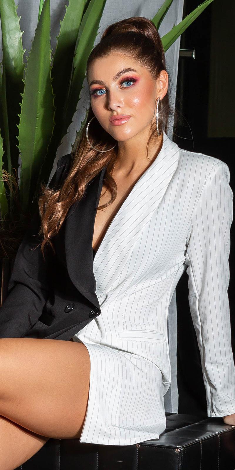 Sexy double-breasted long Jacket Blackwhite