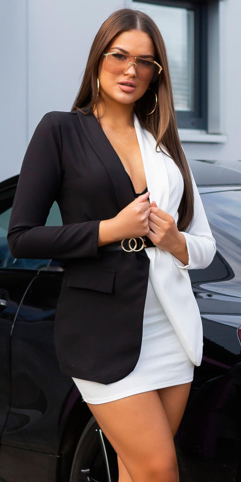 Sexy lange two-tone blazer met riem zwart