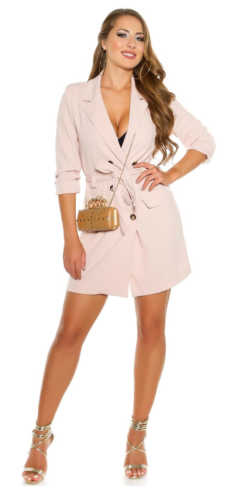 Sexy KouCla long sleeve mini dress buttoned & belt Antiquepink