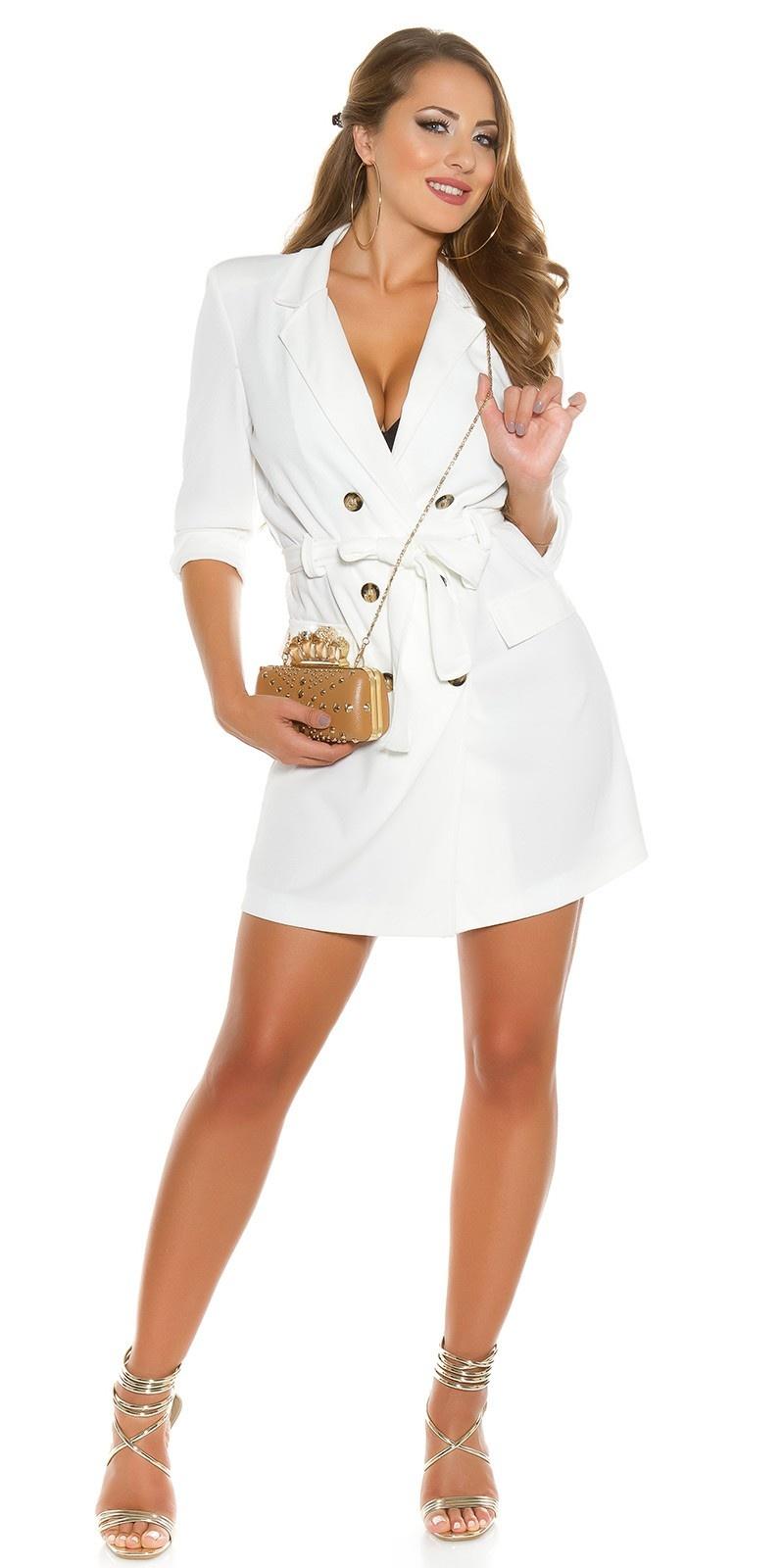 Sexy KouCla long sleeve mini dress buttoned & belt White