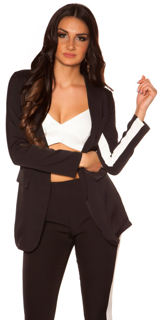 Sexy Blazer with contrasting stripes Black