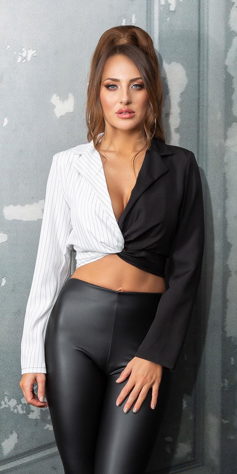 Sexy v-halter cropped blouse zwartwit