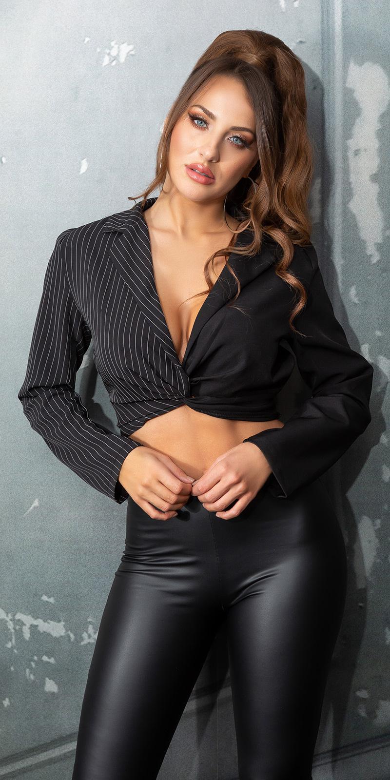 Sexy v-halter cropped blouse zwart