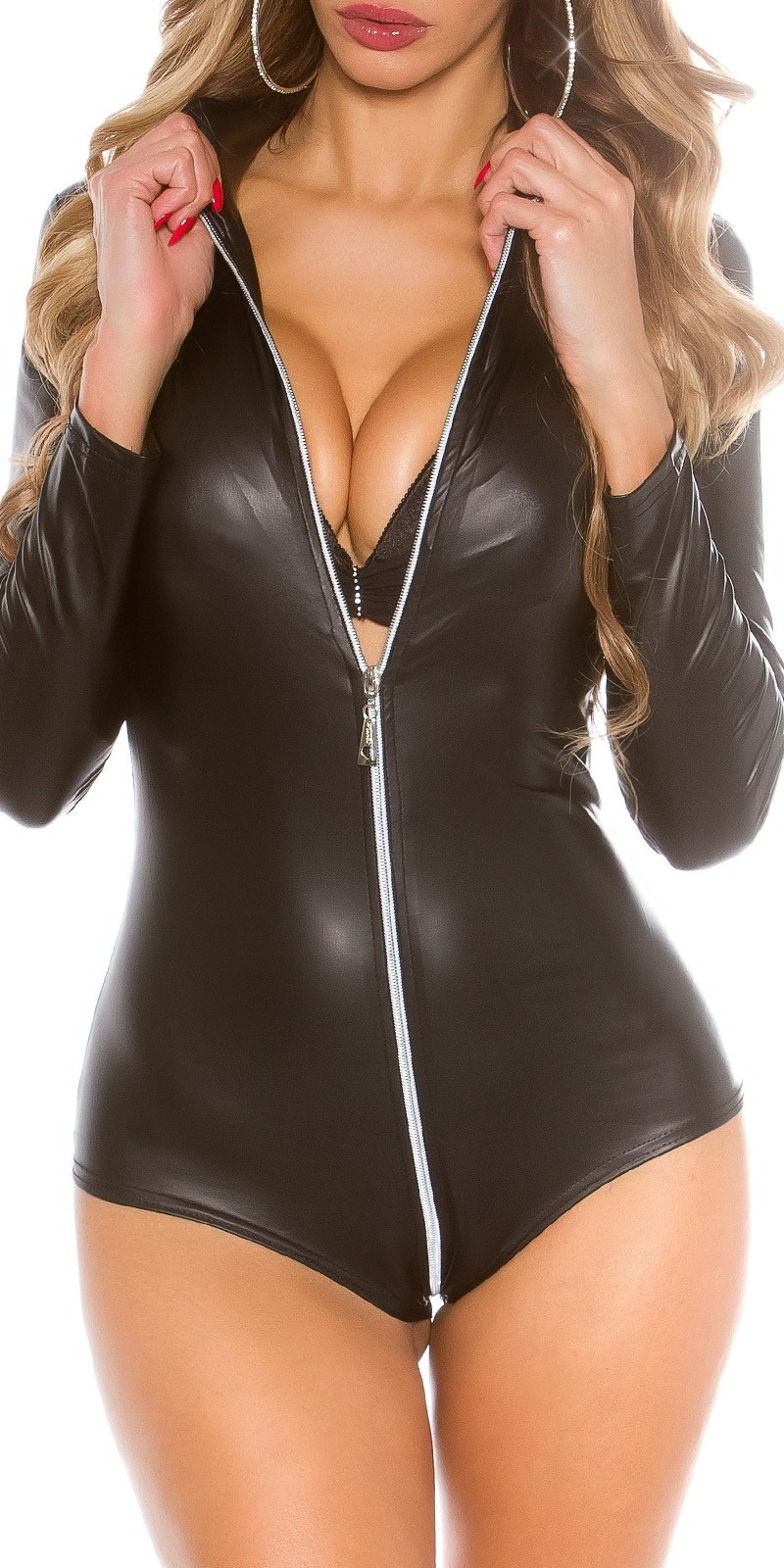 Sexy 2 Way Zip Body Black