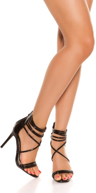 Sexy ankle strap high heel sandals Black
