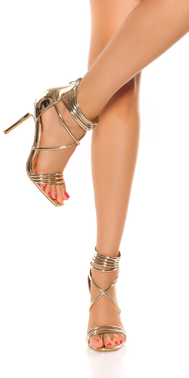 Sexy ankle strap high heel sandals Gold