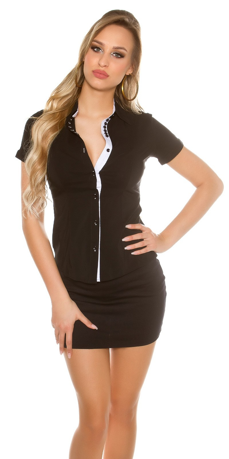 Sexy Short Sleeve Blouse Business Look Black