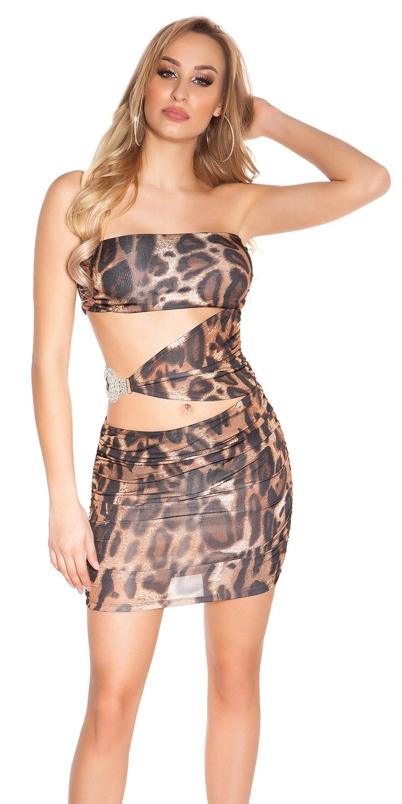 Sexy feest uitgaans jurk met strass steentjes strik luipaard
