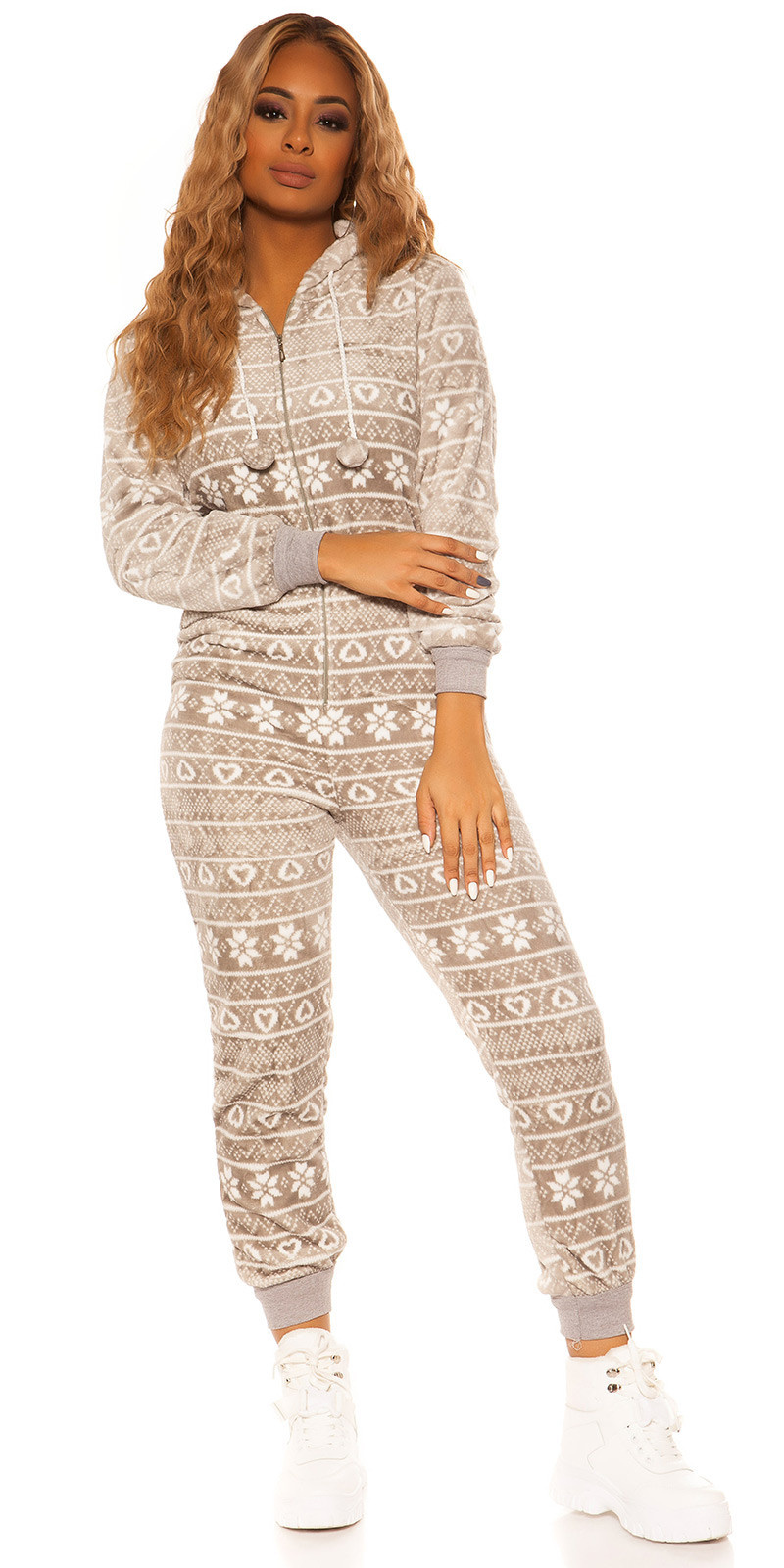 Trendy fleecy onesie with pattern Grey