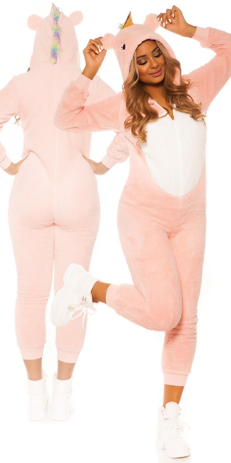 Trendy pluizige unicorn onesie roze