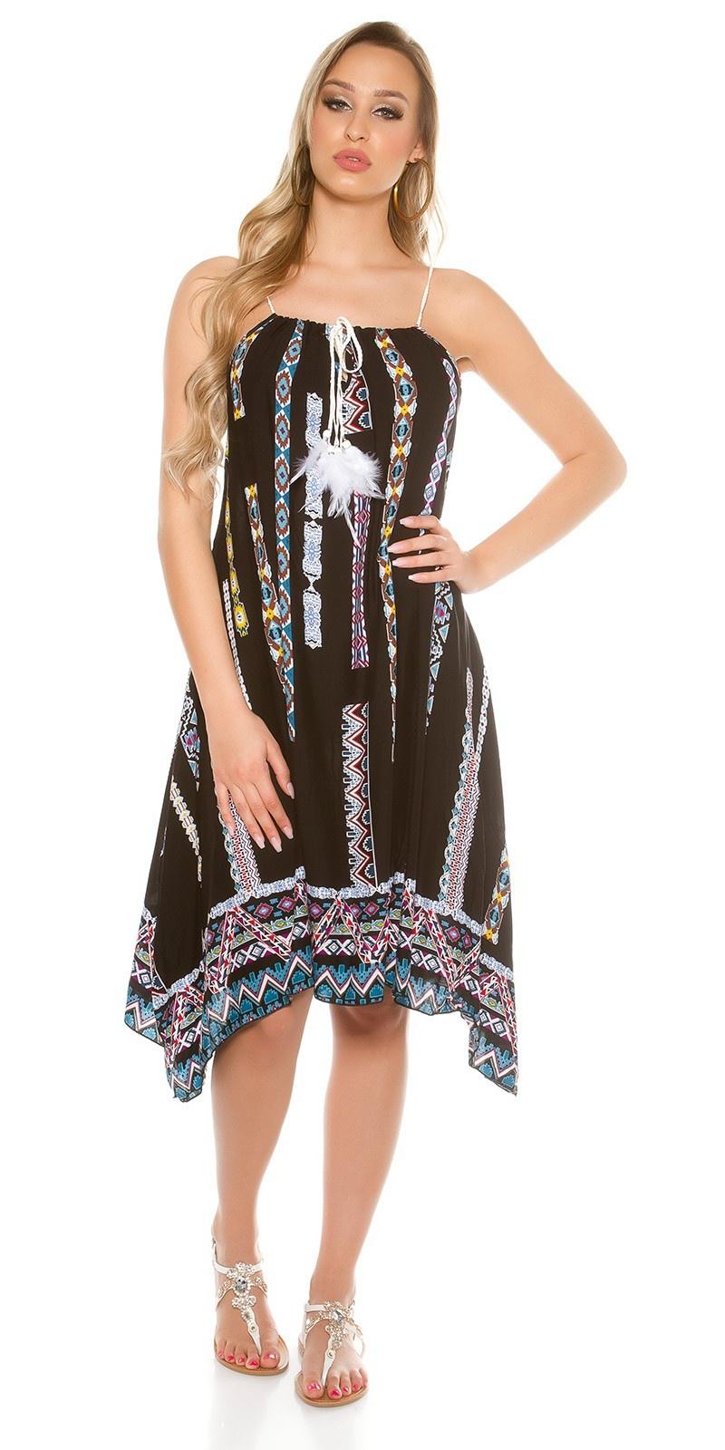 Trendy summer dress asymmetric with print Black