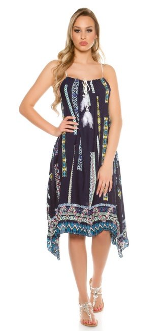 Trendy summer dress asymmetric with print Navy