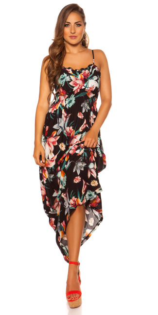 Sexy Summer dress with floral print Black