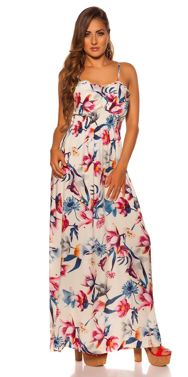 Sexy zomerjurk met bloemen-print cremewit
