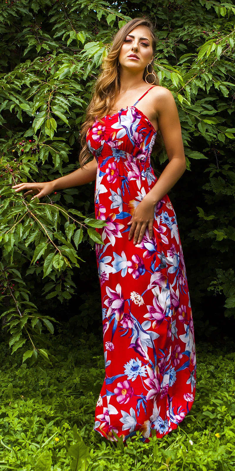 Sexy Summer dress with floral print Red
