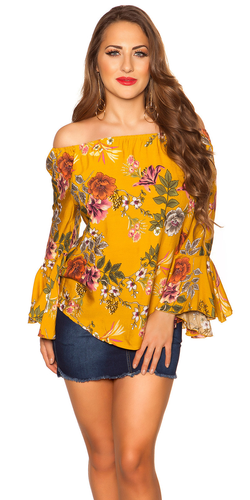 Sexy off shoulder shirt met volant mosterdgeel
