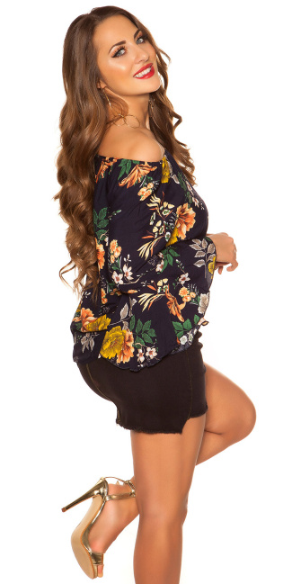 Sexy off shoulder shirt with flounce Navy