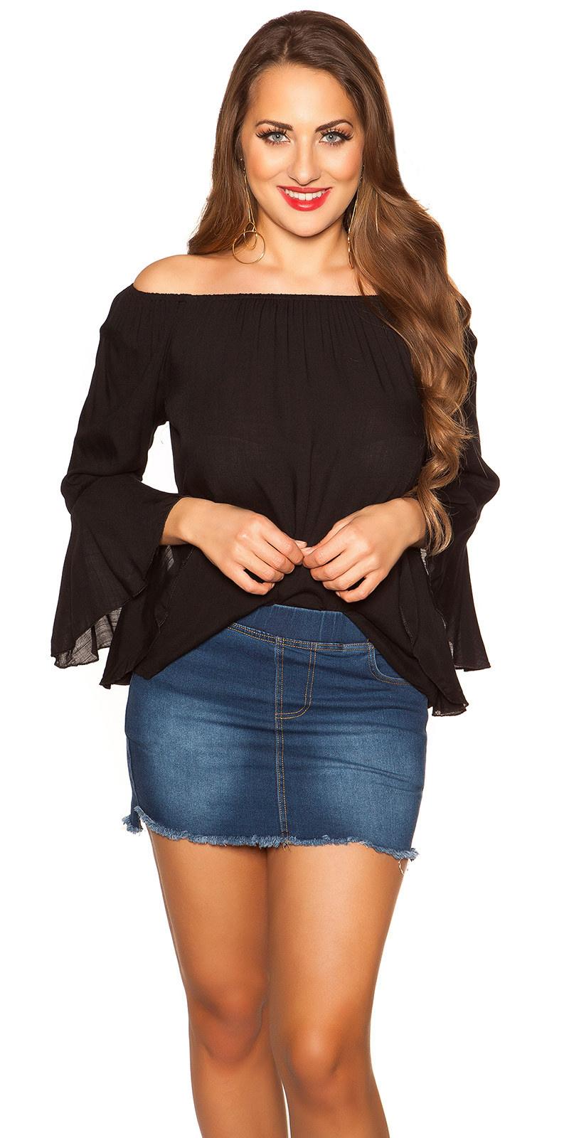 Sexy off shoulder shirt met volant zwart