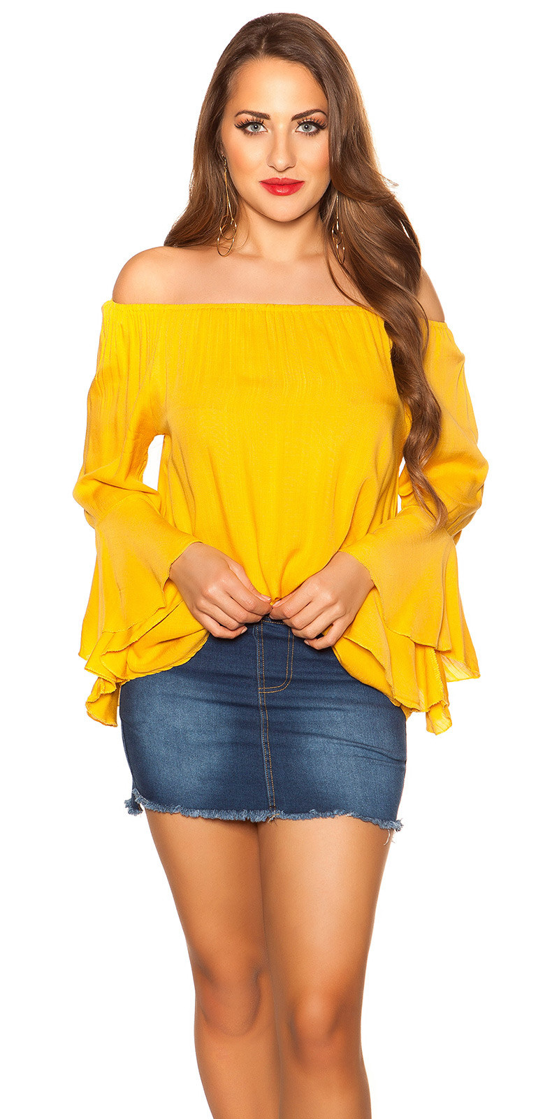 Sexy off shoulder shirt with flounce Mustard